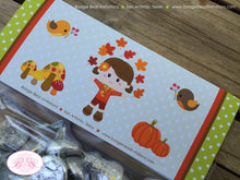 Load image into Gallery viewer, Autumn Harvest Birthday Party Treat Bag Toppers Folded Favor Fall Pumpkin Girl 1st 2nd 3rd 4th 5th 6th Boogie Bear Invitations Georgia Theme
