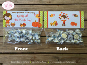 Autumn Harvest Birthday Party Treat Bag Toppers Folded Favor Fall Pumpkin Girl 1st 2nd 3rd 4th 5th 6th Boogie Bear Invitations Georgia Theme