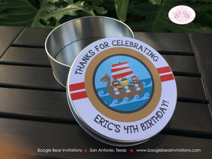 Viking Birthday Cookie Favor Tins Treat Candy Party Warrior Boy Girl Red Blue Ship 1st 2nd 3rd 4th 5th Boogie Bear Invitations Eric Theme