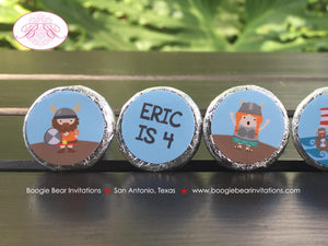 Viking Birthday Party Circle Stickers Candy Favor Boy Girl Red Blue Ship Warrior 1st 2nd 3rd 4th 5th 6th Boogie Bear Invitations Eric Theme