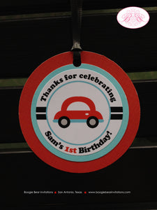 Cars Trucks Birthday Party Favor Tags Gift Honk Beep Blue Red Aqua Turquoise Blue Boy Circle 1st 2nd 3rd Boogie Bear Invitations Sam Theme