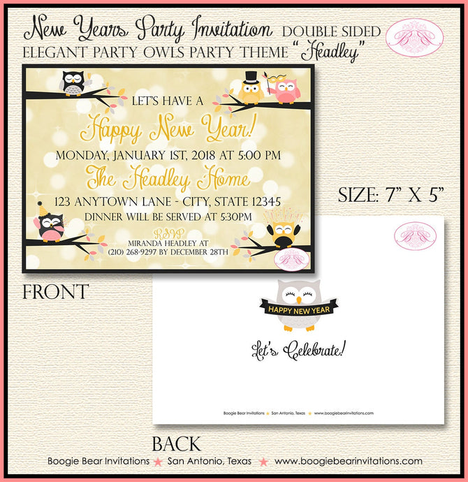 Happy New Year Party Invitation Bokeh Owls Dinner Elegant Rose Gold Lights Boogie Bear Invitations Headley Theme Paperless Printable Printed