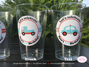 Cars Trucks Birthday Party Beverage Cups Plastic Drink Girl Boy Red Blue Black Silver Grey 1st 2nd 3rd 4th Boogie Bear Invitations Sam Theme