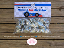 Load image into Gallery viewer, Race Car Birthday Party Treat Bag Toppers Folded Favor Label Boy Girl Red Black Blue 1st 2nd 3rd 4th 5th Boogie Bear Invitations Mario Theme