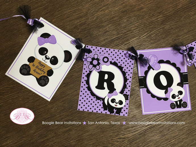 Panda Bear Birthday Name Party Banner Black Purple Lavender Tropical Jungle Girl 1st 2nd 3rd 4th 5th 6th Boogie Bear Invitations Ronna Theme