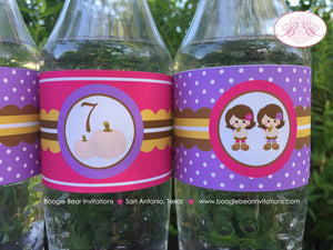 Twin Harvest Girl Birthday Party Bottle Wraps Wrapper Cover Label Pumpkin 1st 2nd 3rd 4th 5th 7th 7th Boogie Bear Invitations Ivy Izzy Theme