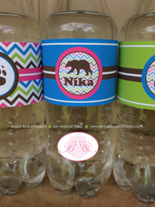 Pink Grizzly Bear Birthday Party Bottle Wraps Wrapper Cover Label Girl Green Blue 1st 2nd 3rd 4th 5th 6th Boogie Bear Invitations Nika Theme