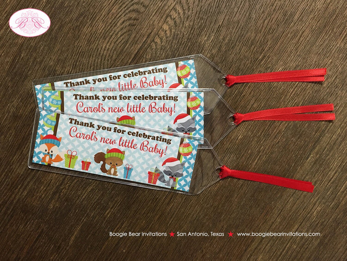 Woodland Animals Baby Shower Bookmarks Favor Christmas Fox Bear Winter Boy Girl Party Tree Santa Hat 1st Boogie Bear Invitations Carol Theme