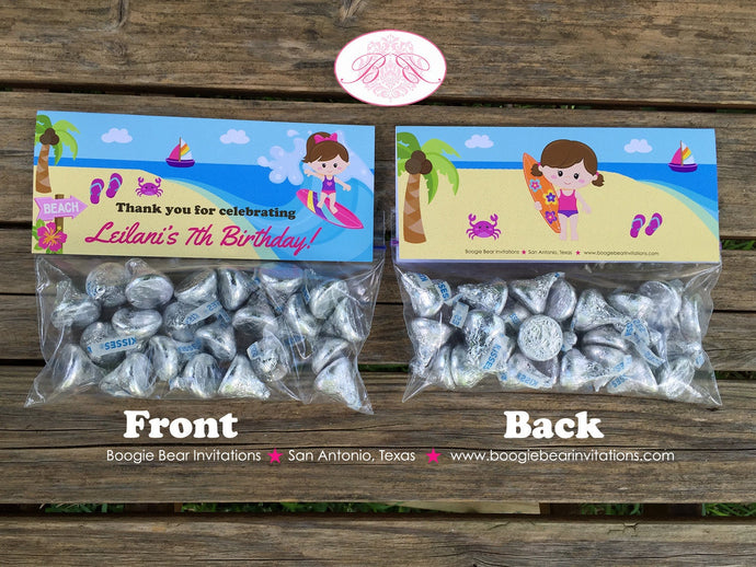 Surfer Girl Birthday Party Treat Bag Toppers Folded Favor Beach Ocean 1st 2nd 3rd 4th 5th 6th 7th 8th Boogie Bear Invitations Leilani Theme