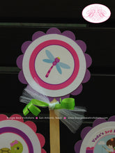 Load image into Gallery viewer, Fishing Girl Birthday Party Cupcake Toppers Pink Purple Dock Frog Butterfly 1st 2nd 3rd 4th 5th 6th 7th Boogie Bear Invitations Vada Theme