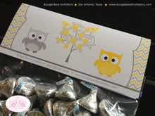 Load image into Gallery viewer, Yellow Grey Owl Baby Shower Treat Bag Toppers Folded Favor Woodland Animals Bird Tree Garden Boy Girl 1st Boogie Bear Invitations Lara Theme