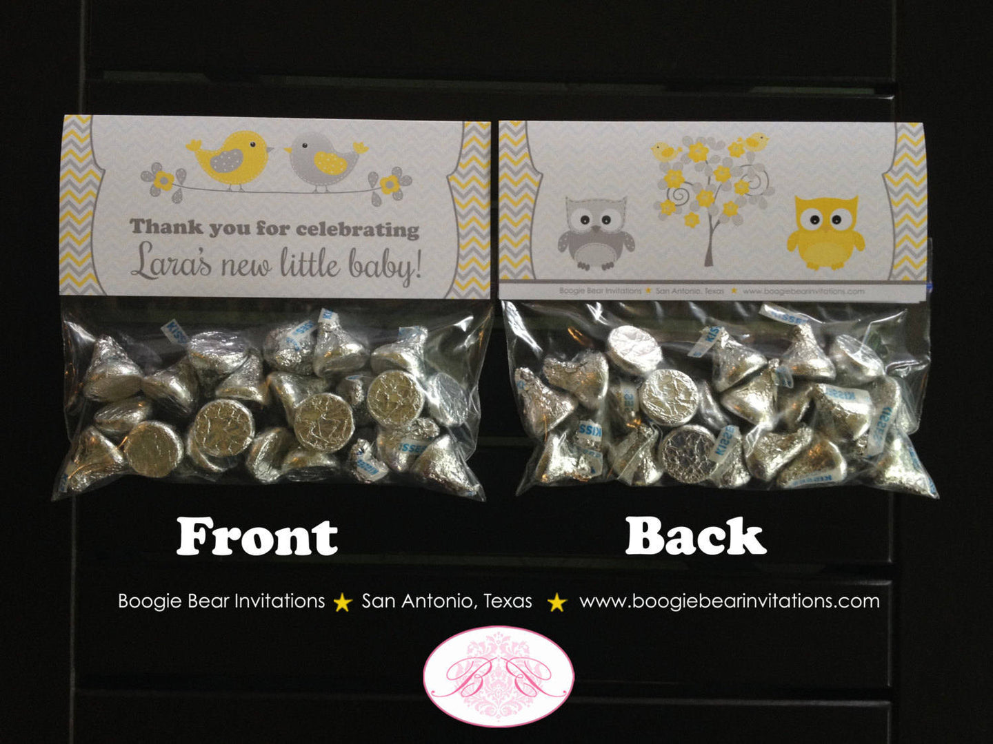Yellow Grey Owl Baby Shower Treat Bag Toppers Folded Favor Woodland Animals Bird Tree Garden Boy Girl 1st Boogie Bear Invitations Lara Theme