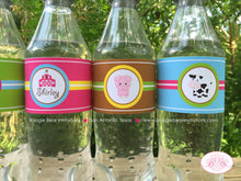 Load image into Gallery viewer, Pink Farm Birthday Party Bottle Wraps Wrappers Cover Label Barn Girl 1st 2nd 3rd 4th 5th 6th 7th Boogie Bear Invitations Shirley Theme