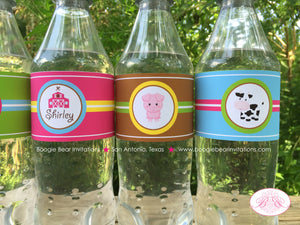 Pink Farm Birthday Party Bottle Wraps Wrappers Cover Label Barn Girl 1st 2nd 3rd 4th 5th 6th 7th Boogie Bear Invitations Shirley Theme