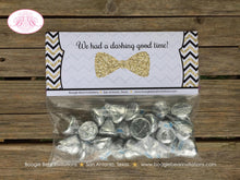 Load image into Gallery viewer, Mustache Baby Shower Treat Bag Toppers Folded Favor Black Gold Glitter Bash Bow Tie Chevron Boy Tag 1st Boogie Bear Invitations Harley Theme