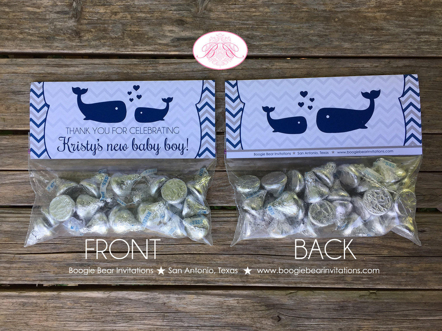 Navy Blue Whale Baby Shower Folded Treat Bag Toppers Boy Girl Grey Ocean Silver White Label Chevron Boogie Bear Invitations Kristy Theme