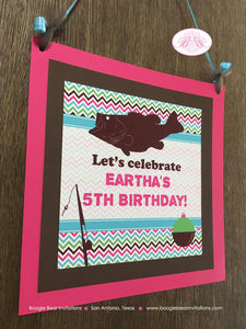 Bass Fishing Birthday Party Door Banner Fish Pink Girl Pole Reel Chevron 1st 2nd 3rd 4th 5th 6th 7th Boogie Bear Invitations Eartha Theme