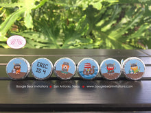 Load image into Gallery viewer, Viking Birthday Party Circle Stickers Candy Favor Boy Girl Red Blue Ship Warrior 1st 2nd 3rd 4th 5th 6th Boogie Bear Invitations Eric Theme