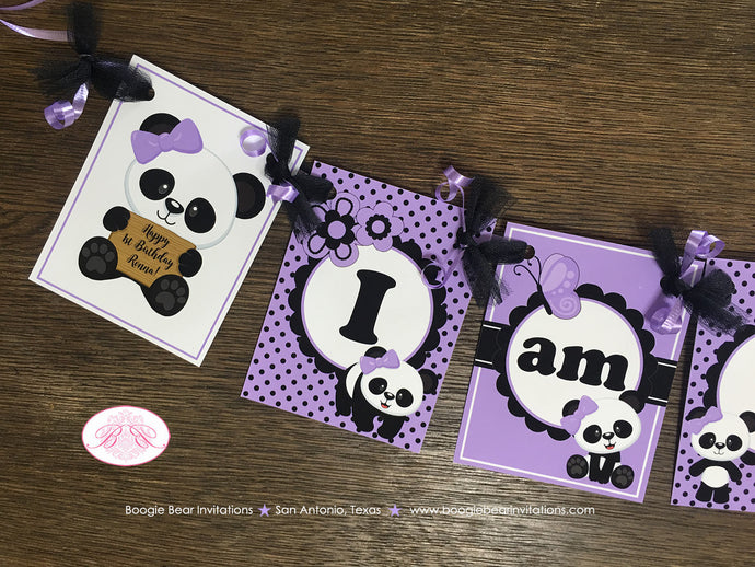 Purple Panda Bear I am 1 Highchair Party Banner Birthday Small Lavender Black Spot Girl 1st 2nd 3rd 4th Boogie Bear Invitations Ronna Theme