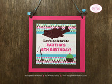 Load image into Gallery viewer, Bass Fishing Birthday Party Door Banner Fish Pink Girl Pole Reel Chevron 1st 2nd 3rd 4th 5th 6th 7th Boogie Bear Invitations Eartha Theme
