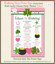 Load image into Gallery viewer, Lucky Charm Birthday Party Sign Poster Frameable Chalkboard Stats Pink Green Girl St. Patrick's Day 1st Boogie Bear Invitations Eileen Theme