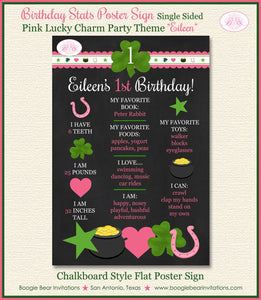 Lucky Charm Birthday Party Sign Poster Frameable Chalkboard Stats Pink Green Girl St. Patrick's Day 1st Boogie Bear Invitations Eileen Theme