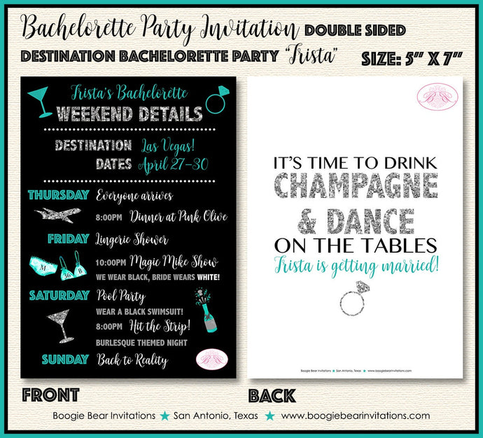 Destination Bachelorette Party Invitation Girl Teal Silver Black Itinerary Boogie Bear Invitations Trista Theme Paperless Printable Printed