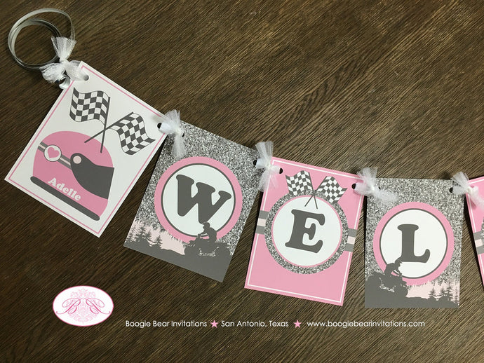 Pink ATV Baby Shower Party Banner Party Grey Gray Silver Glitter Girl Checkered Flag Race Stripe Quad Boogie Bear Invitations Adelle Theme