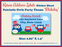 Load image into Gallery viewer, 4th of July Birthday Party Invitation Day Owls Girl Boy 1st 2nd 3rd 4th Boogie Bear Invitations Paperless Printable Printed Blakeley Theme