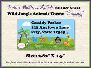 Wild Animals Birthday Party Invitation Jungle Safari Zoo Giraffe 1st 3rd Boogie Bear Invitations Cassidy Theme Paperless Printable Printed