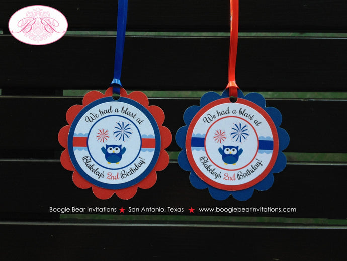 4th of July Birthday Party Favor Tags Owl Girl Boy Happy Patriotic Flag 1st 2nd 3rd 4th 5th 6th 7th Boogie Bear Invitations Blakeley Theme