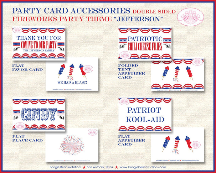 4th of July Fireworks Party Favor Card Tent Place Food Label Tag Don't Be A Dud Red White Blue 1st Boogie Bear Invitations Jefferson Theme
