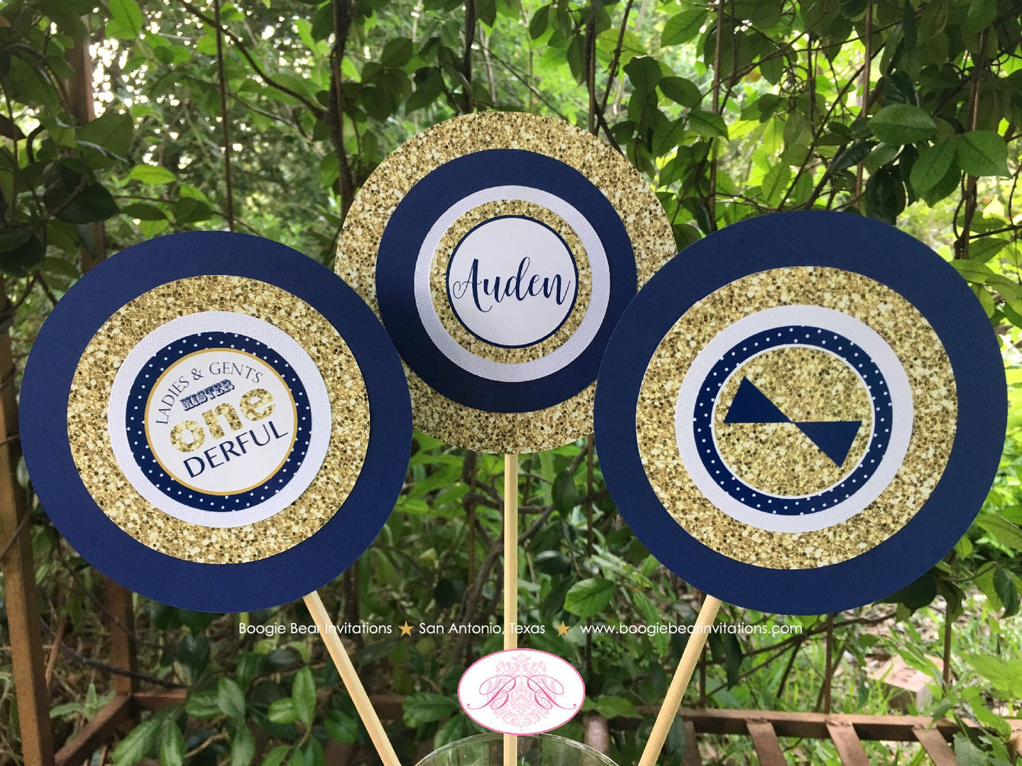 Mr. Wonderful Birthday Party Centerpiece Set 1st ONE Onederful Little Man Bow Tie Navy Blue Gold Formal Boogie Bear Invitations Auden Theme