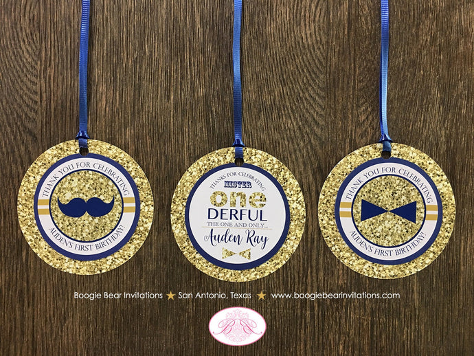 Mr. Wonderful Party Favor Tags Birthday 1st ONE Onederful Bow Tie Mustache Navy Blue White Glitter Gold Boogie Bear Invitations Auden Theme