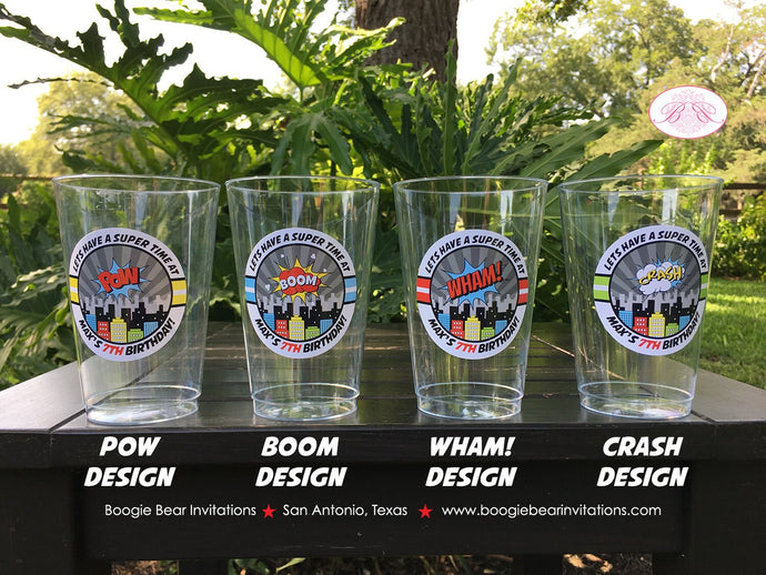 Superhero Birthday Party Beverage Cups Plastic Drink Super Hero Boy Girl 1st 2nd 3rd 4th 5th 6th 7th 8th Boogie Bear Invitations Max Theme