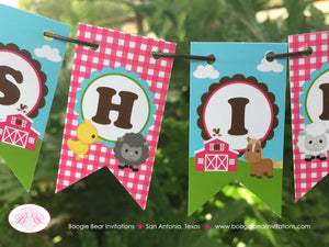 Pink Farm Party Pennant Cake Banner Topper Birthday Animals Barn Girl 1st 2nd 3rd 4th 5th 6th 7th 8th Boogie Bear Invitations Shirley Theme