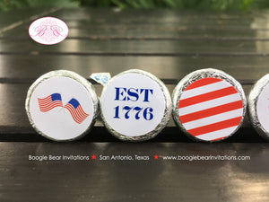 4th of July Candy Circle Candy Sticker Sheet Party Stars Stripes Flag Red White Blue America Boy Girl Boogie Bear Invitations Hamilton Theme
