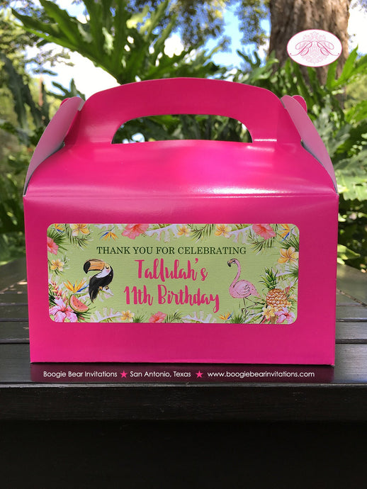 Tropical Paradise Birthday Party Treat Boxes Girl Flamingo Toucan Pineapple Pink Gold Green 1st 11th Boogie Bear Invitations Tallulah Theme