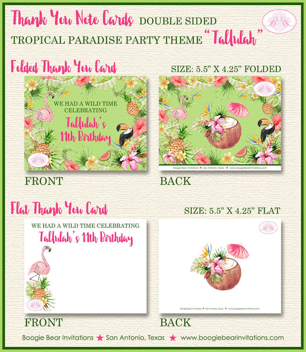 Tropical Paradise Birthday Party Thank You Card Girl Flamingo Toucan Pink Gold Green 1st 11th Boogie Bear Invitations Tallulah Theme Printed