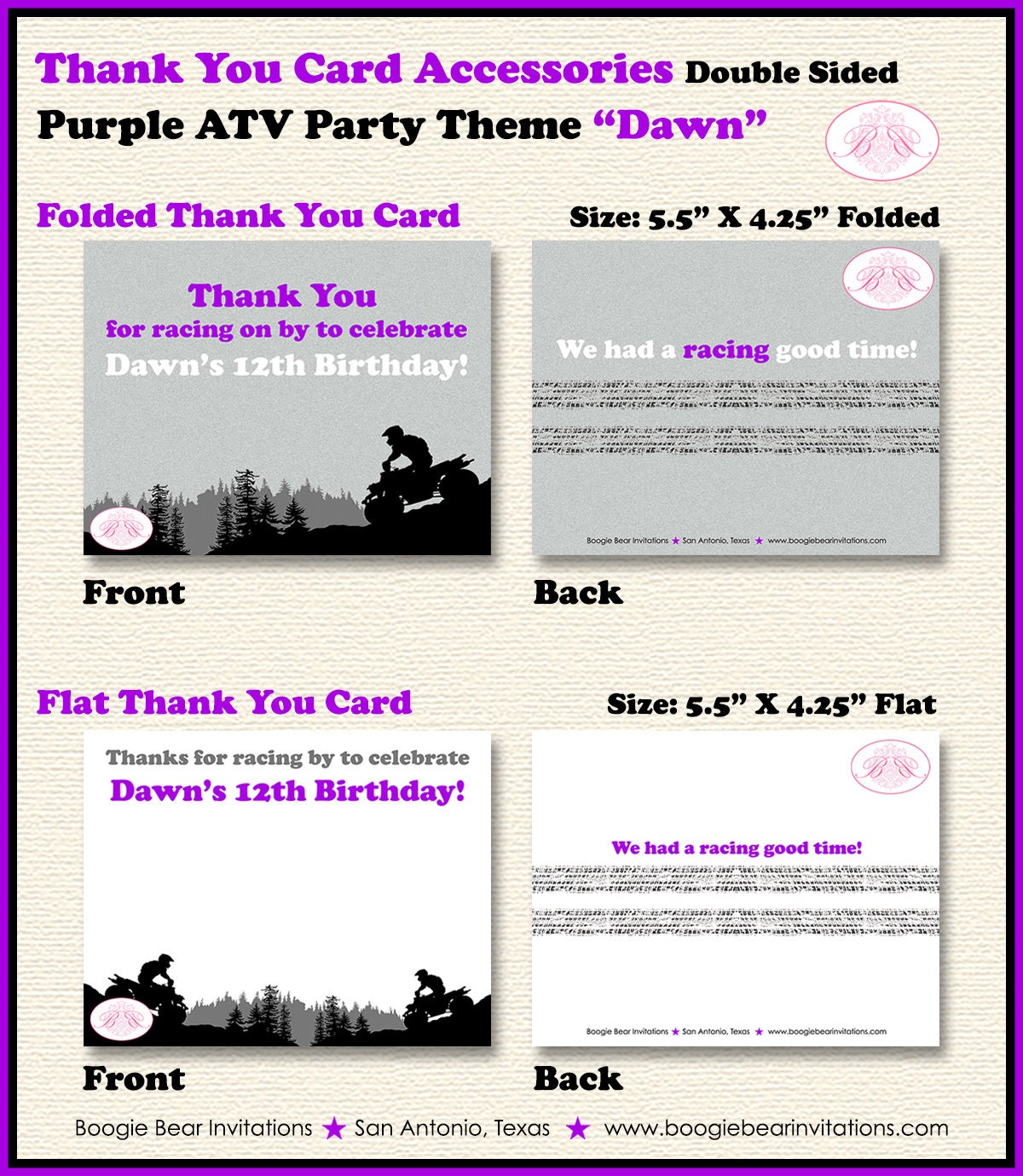 Purple ATV Birthday Party Thank You Card Girl Grey Black 1st 2nd 3rd 4th 5th 6th 7th 8th 9th 12th Boogie Bear Invitations Dawn Theme Printed