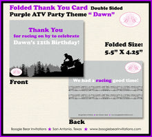 Load image into Gallery viewer, Purple ATV Birthday Party Thank You Card Girl Grey Black 1st 2nd 3rd 4th 5th 6th 7th 8th 9th 12th Boogie Bear Invitations Dawn Theme Printed