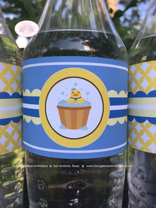 Yellow Rubber Duck Baby Shower Bottle Wraps Wrappers Cover Label Blue Little Duckie Boy Pool Bubbles 1st Boogie Bear Invitations Terry Theme