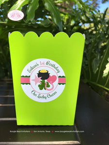 Lucky Charm Popcorn Boxes Mini Food Buffet Birthday Party Pink Green Shamrock St. Patricks Day 1st 2nd Boogie Bear Invitations Eileen Theme