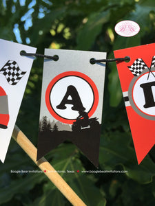 ATV Birthday Party Pennant Cake Banner Topper Flag Red Black 1st 2nd 3rd 4th 5th 6th 7th 8th 9th 10th Boogie Bear Invitations Adam Theme