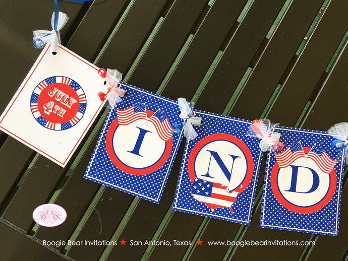 4th of July Independence Day Party Banner Red White Blue Flag Stars Stripes USA United States Map 1st Boogie Bear Invitations Hamilton Theme