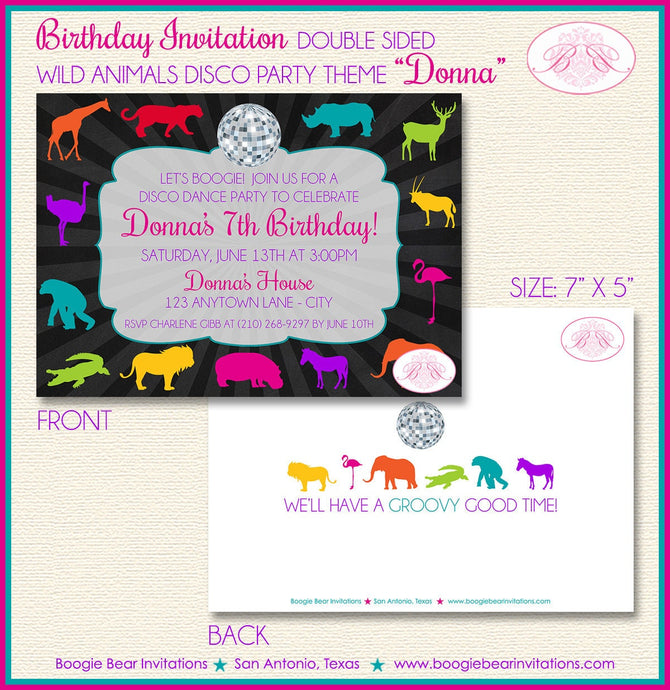 Disco Wild Animals Party Invitation Birthday Dance Girl Boy 1st 6th 7th 8th Boogie Bear Invitations Donna Theme Paperless Printable Printed