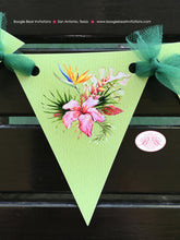 Load image into Gallery viewer, Tropical Paradise Party Banner Pennant Birthday Garland Small Flamingo Toucan Pineapple Pink Green Boogie Bear Invitations Tallulah Theme