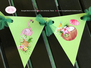 Tropical Paradise Party Banner Pennant Birthday Garland Small Flamingo Toucan Pineapple Pink Green Boogie Bear Invitations Tallulah Theme