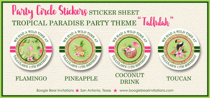Tropical Paradise Party Stickers Circle Sheet  Birthday Flamingo Toucan Pink Green Gold Girl 1st 11th Boogie Bear Invitations Tallulah Theme