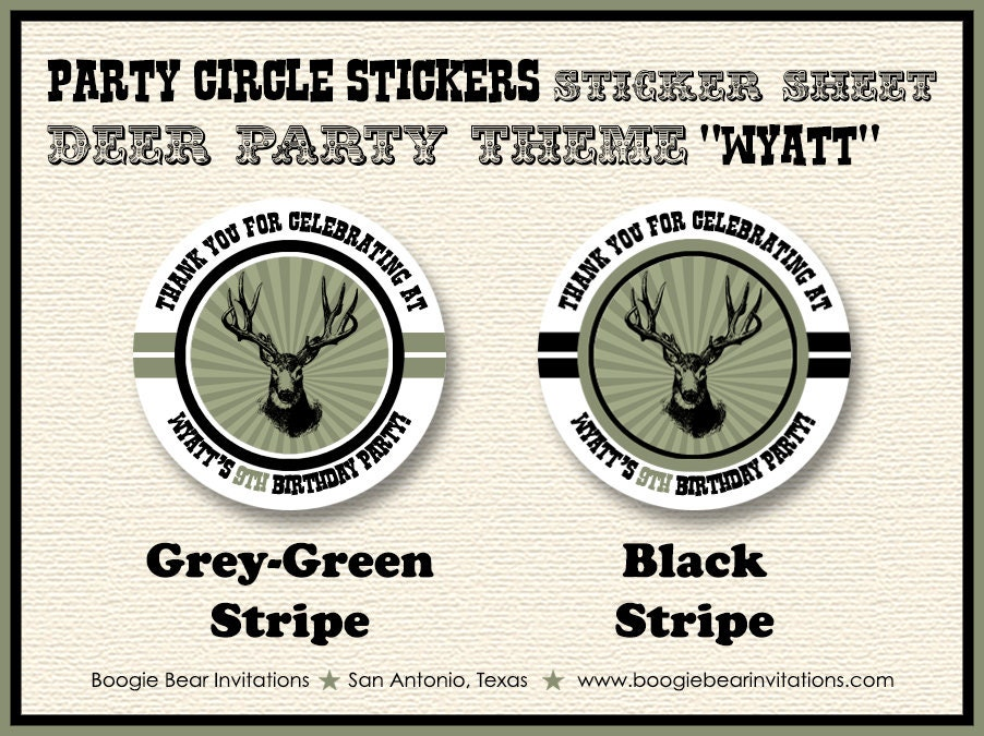 Deer Hunting Birthday Party Stickers Circle Sheet Round Buck Elk Hunting Boy 1st 4th 5th 6th 7th 8th 9th Boogie Bear Invitations Wyatt Theme